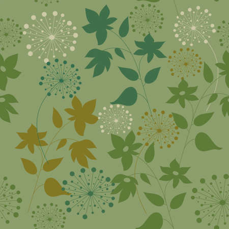 Pattern with a wild flowers and herbs