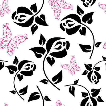 Template with a decorative flowers and butterflies Illustration