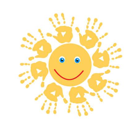 Joyful sun of a  handprints Illustration