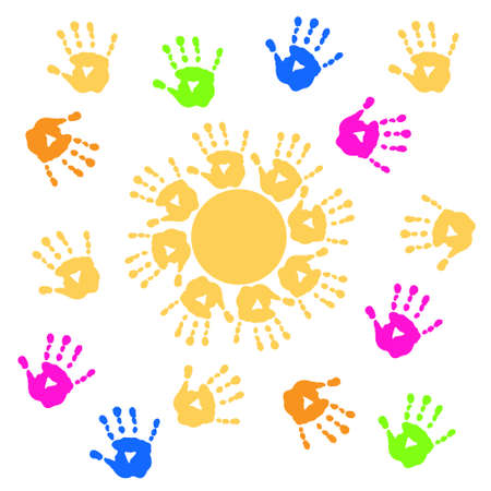 Background with a sun and handprints Vector