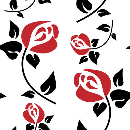 Seamless pattern with a red roses Illustration