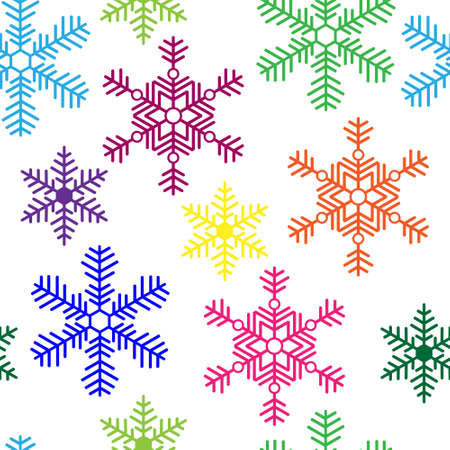 Seamless background with a multi-colored snowflakes