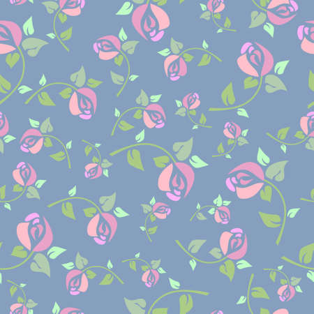 Seamless pattern with a pink roses