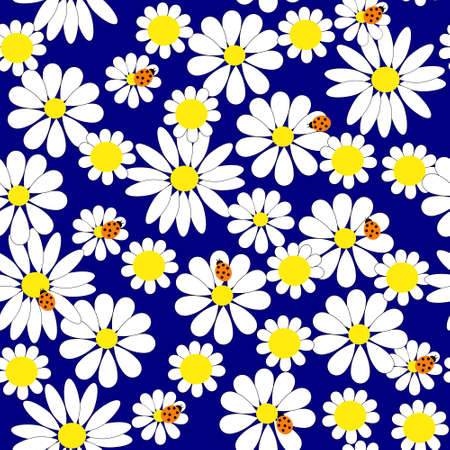 Seamless background with a daisies and ladybirds