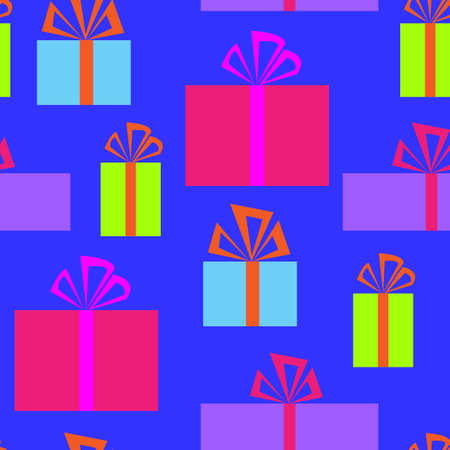 Seamless pattern with a holiday boxes Vector