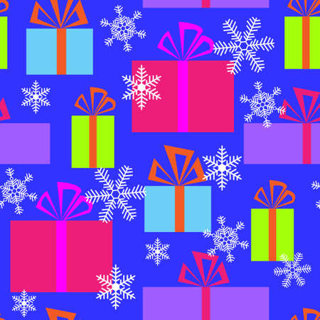 Seamless pattern with a gifts and snowflakes Vector