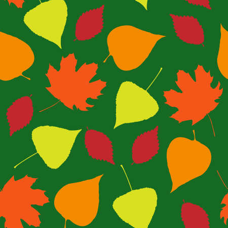 Seamless wallpaper pattern from autumn leaves Illustration