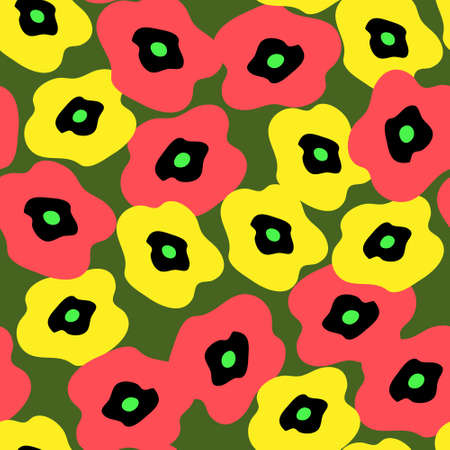 Seamless background with a different poppies Vector