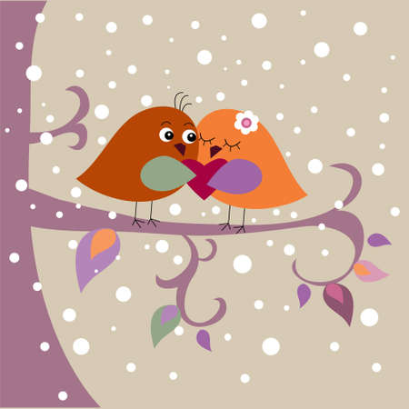 Holiday card with a birds Vector
