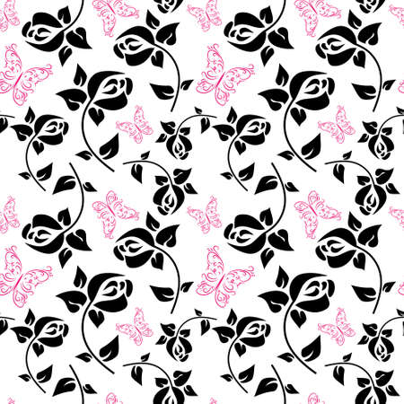Seamless pattern with a butterflies and roses Vector