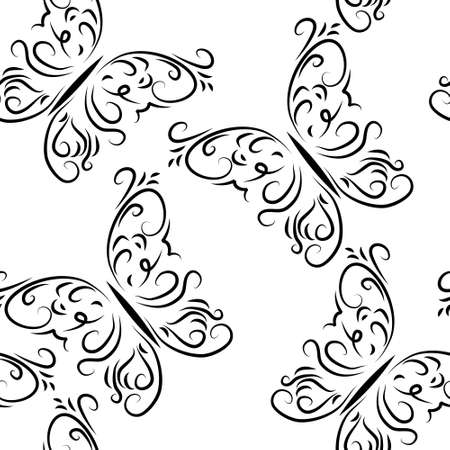 Seamless pattern with a butterflies graphically Vector