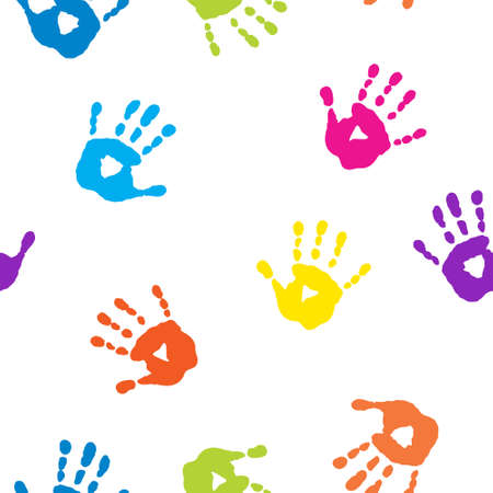 Seamless pattern with a colorful handprints
