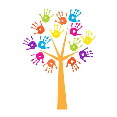 Árbol con huellas de manos en vez de las hojas Ilustración de vector