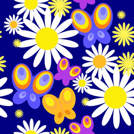 Pattern with a vivid butterflies and daisies Illustration