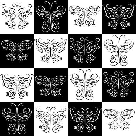 Seamless pattern with a butterflies staggered Vector