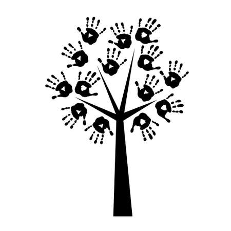 handprints: Silhouette of a tree with a handprints