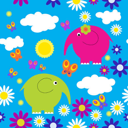 Bright seamless pattern with a elephants Vector