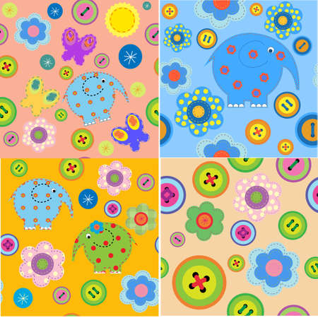 Set of seamless patterns with a childrens crafts Vector