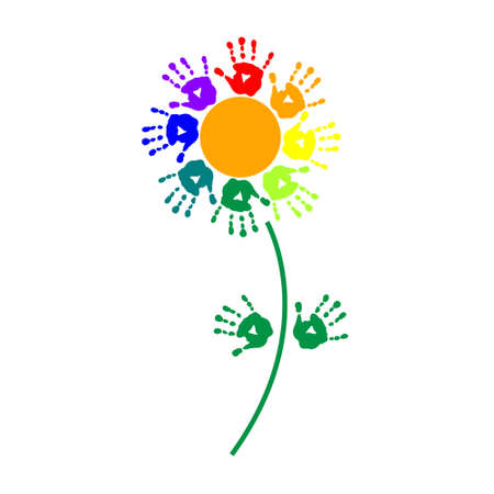 Flower of a colorful hand prints