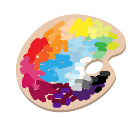 The artists palette with a colorful paints