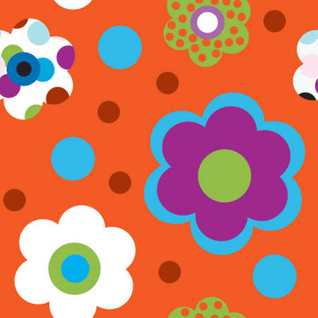 Seamless pattern with a bright flowers Vector