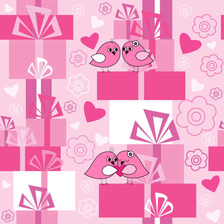 Seamless texture with a flowers and gifts Vector