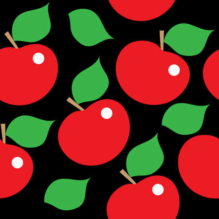 Seamless pattern with a red apples