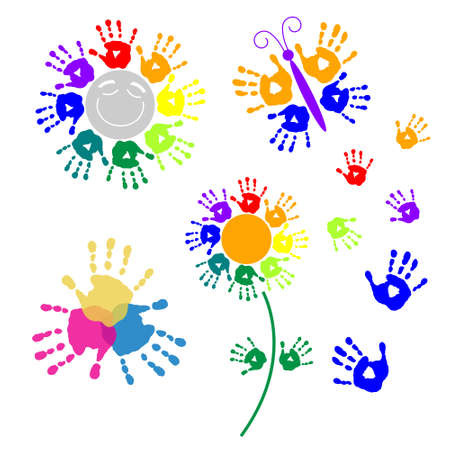 Set elements for design of a handprints