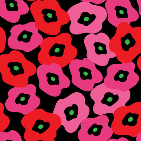 Stylish pattern with a red poppies Illustration