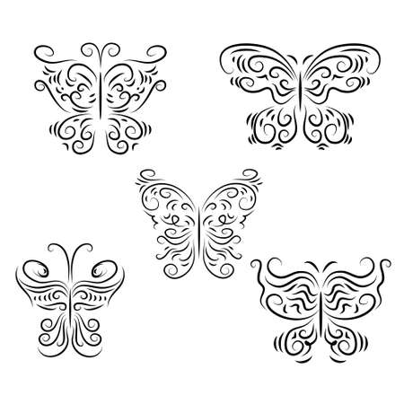graphically: Set a decorative beautiful graphically butterflies