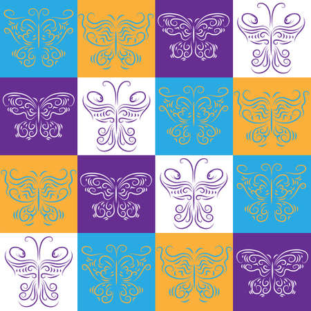Seamless wallpaper with a decorative butterflies Vector