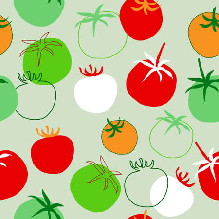 Seamless pattern with a different tomatoes