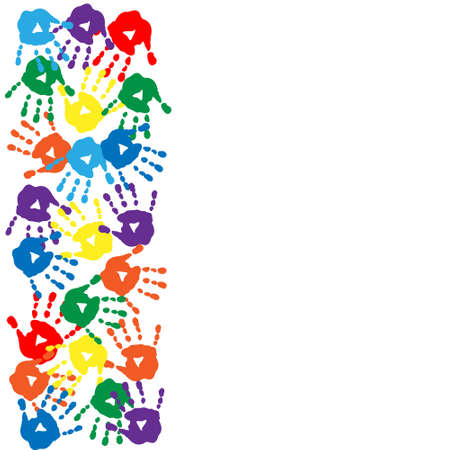 Card with colorful handprints on a white background