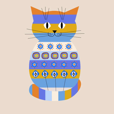 Decorative cat with a ethnic ornament Vector