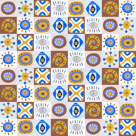 Seamless pattern with a funny ethnic patterns