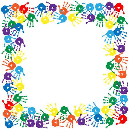 Cadre d'un imprimés colorés à la main Banque d'images - 28073512
