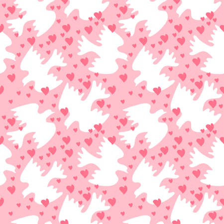 sweethearts: Seamless pattern with a white sweethearts