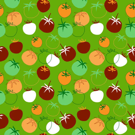 market gardening: Seamless pattern with a different tomatoes