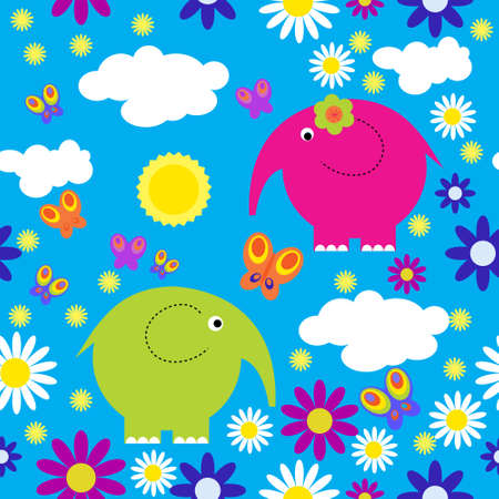 Seamless pattern with a elephants and butterflies Vector