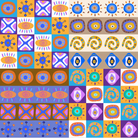 Set of a ethnic patterns cute Vector