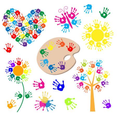 Conjunto de elementos para el diseño con unas huellas de las manos