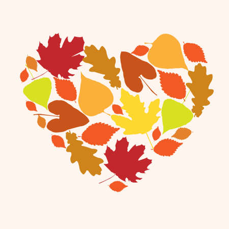 Symbol of love autumn in the form of a heart