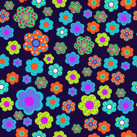 Seamless floral pattern with a cute flowers Vector