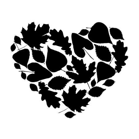 Silhouette of the heart of a various leaves Vector