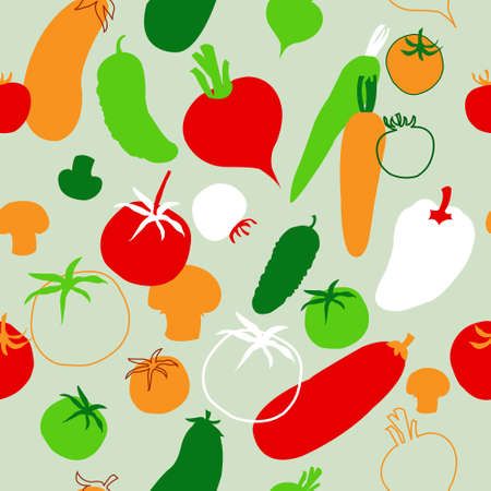 Seamless template with a vegetables on the green background Vector