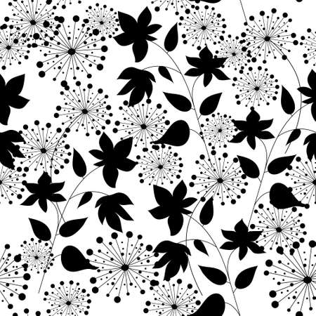 Seamless texture with a flowers silhouettes