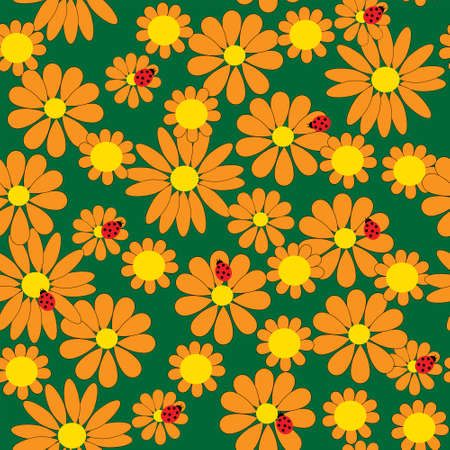 calendula: Seamless pattern with a orange flowers