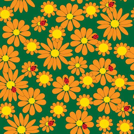 calendula flower: Seamless pattern with a orange flowers