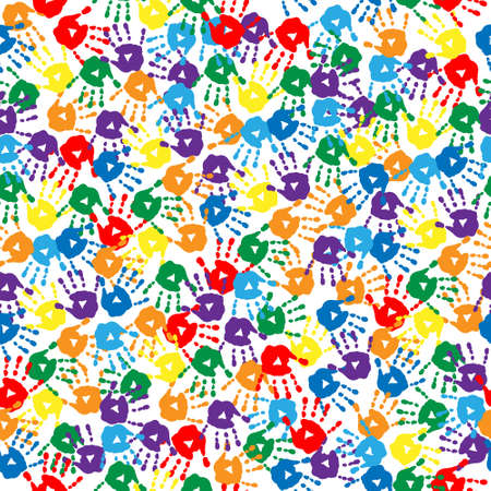 Seamless background with a multi-colored handprints