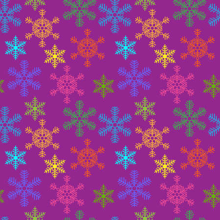 Seamless background with a multi-colored Christmas snowflakes Vector
